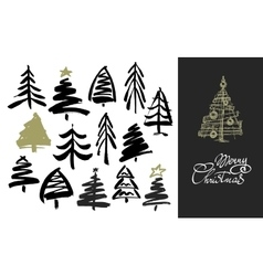 Hand drawn grunge Christmas trees Ink painting vector image