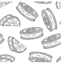 hand drawn outline seamless pattern with cookie vector image