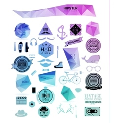 Hipster style elements icons and labels vector image