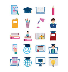 home education school learn supplies icons set vector image
