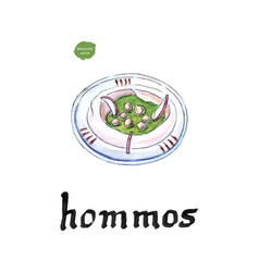 Hommos chickpea dip with spices watercolor vector