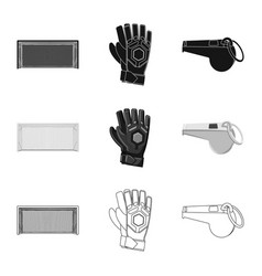 Isolated object of soccer and gear icon set of vector