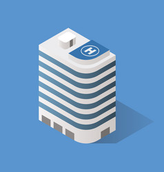 isometric building with helipad on top of building vector image