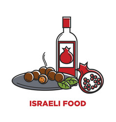 Israeli food and granet wine travel agency promo vector