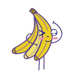 Kawaii cute funny banana fruit vector