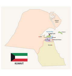 kuwait administrative and political map with flag vector image