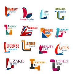L letter corporate identity business icons vector
