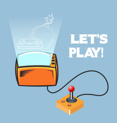lets play retro video game joystick image vector image