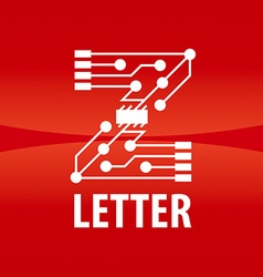 logo letter Z in the form chip on a red background vector image