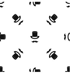 magic black hat and mustache pattern seamless vector image vector image
