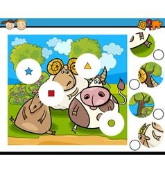 match pieces game cartoon vector image