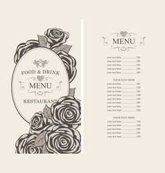 Menu for the restaurant with roses in retro style vector