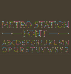 metro styled font for dark background vector image