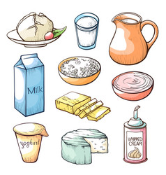 milk products hand drawn set vector image
