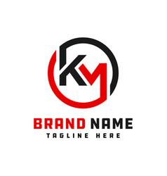 Monogram logo design letter km vector