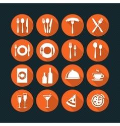 Orange restaurant icons set vector image