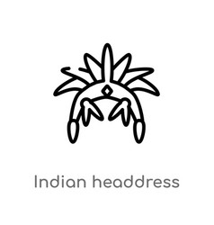 Outline indian headdress icon isolated black vector