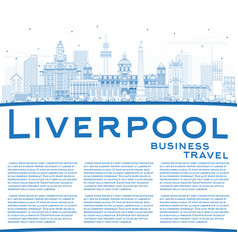 Outline liverpool skyline with blue buildings and vector