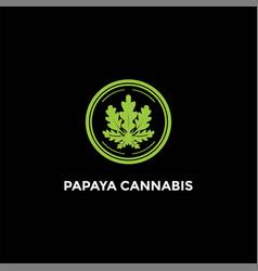 papaya cannabis oak leaf leaves logo design vector image