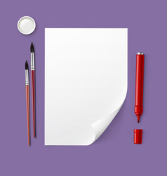 paper with drawing tools vector image