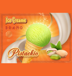 Pistachio nuts ice cream advertising vector