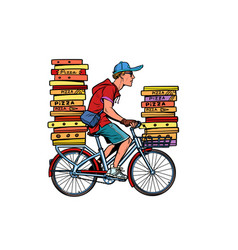 pizza delivery bicycle vector image