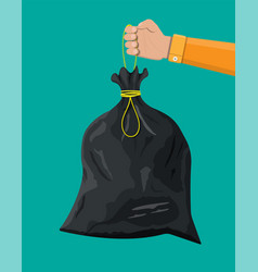 Plastic garbage bag with rope in hand vector