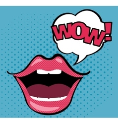 Pop art open mouth with WOW speech bubble vector image