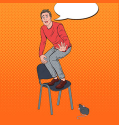 pop art screaming man scared mice vector image