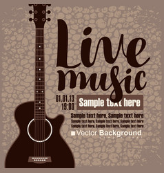 Poster for concert live music with acoustic guitar vector
