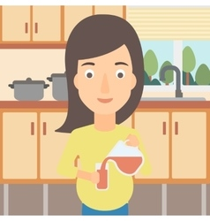 Pregnant woman pouring juice vector