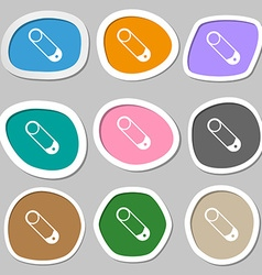 Pushpin icon symbols multicolored paper stickers vector