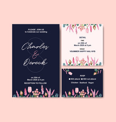 Retro style wedding card design with flowers and vector