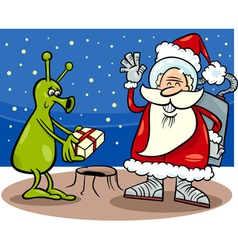 santa claus and alien cartoon vector image