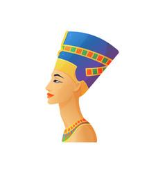 Sculpture nefertiti egyptian queen flat vector
