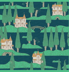 seamless pattern with houses and trees on islands vector image