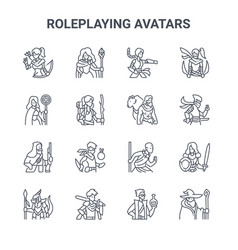 Set 16 roleplaying avatars concept line icons vector