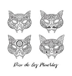 set cat sugar mexican skulls vector image