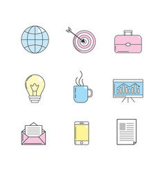 Set company with technology tools icon vector