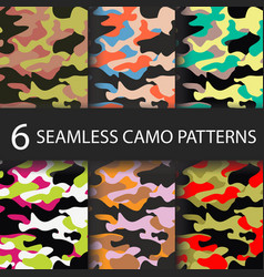 set of 6 pack camouflage seamless patterns vector image