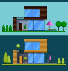 set of beautiful cottages vector image