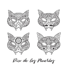 Set of cat sugar Mexican skulls vector