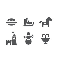 Set of children entertainment icons carousel vector