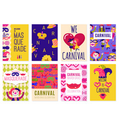 set of eight carnival posters vector image