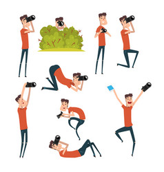 Set of photographers in different situations vector