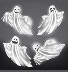 set of white ghosts halloween monsters vector image