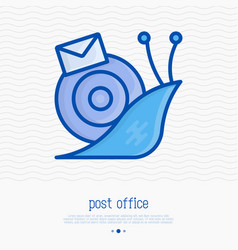 snail mail with envelope thin line icon vector image