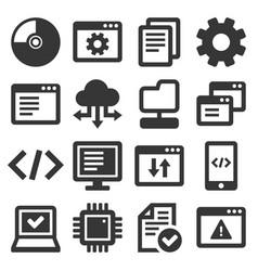 Software and hardware programing icons set vector