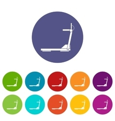 Sport treadmill running road equipment set icons vector