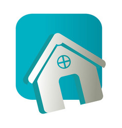 Square button and simple facade house icon design vector